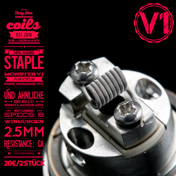 Tasty Ohm Coils MTL Nano Staple V1